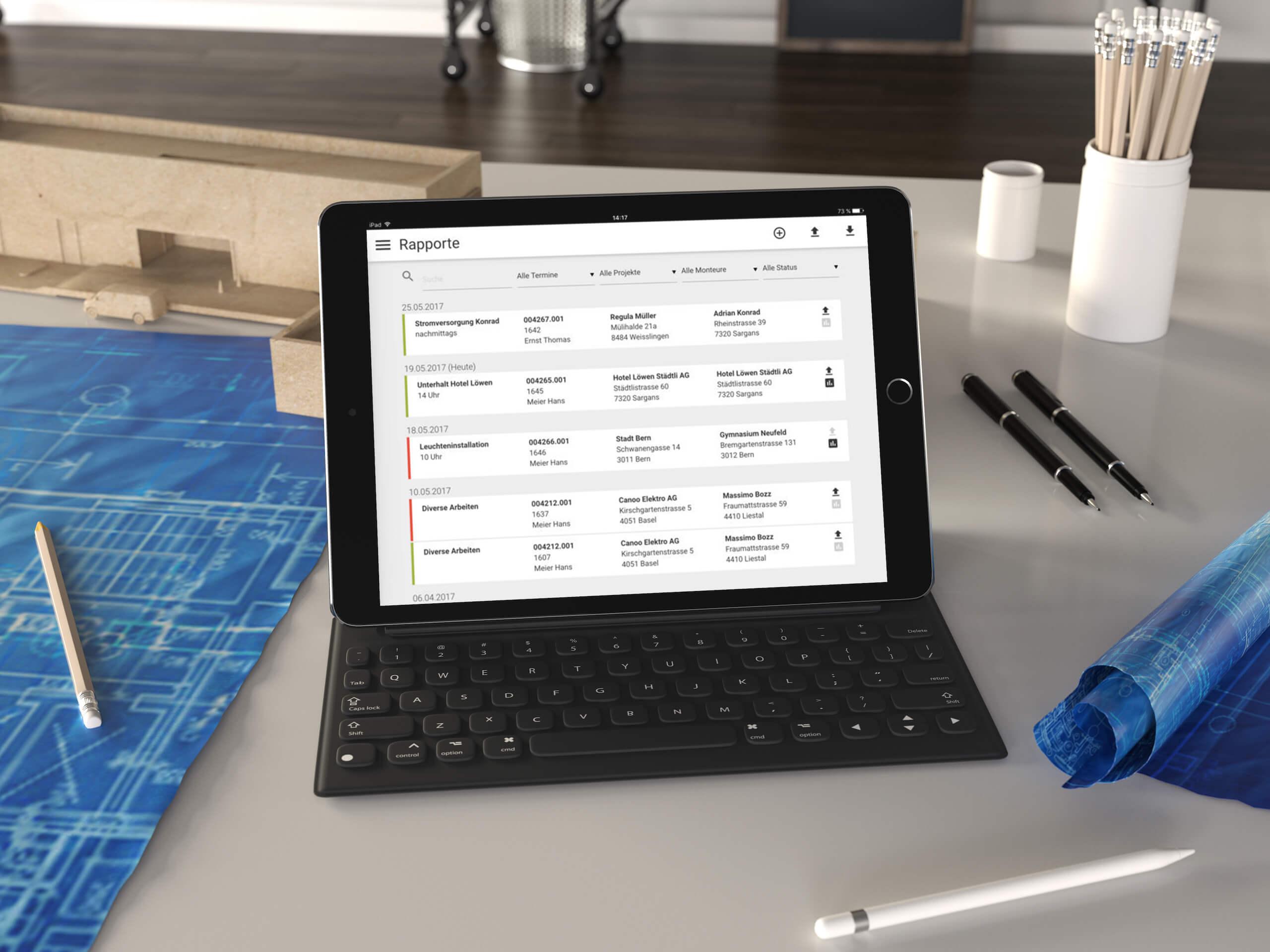 Volta Mobile auf iPad in Planungsbüro