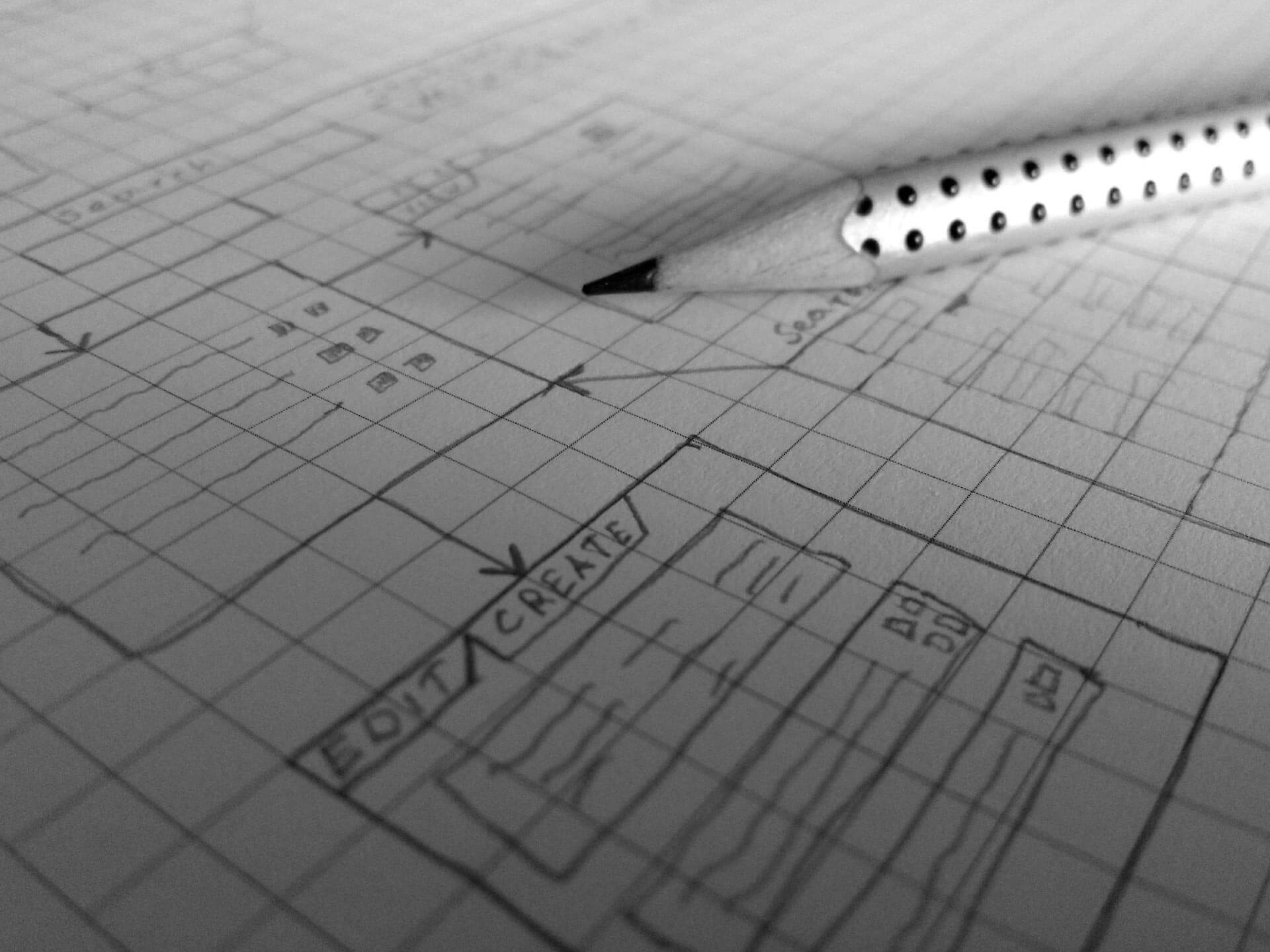 Bleistift auf Papier Planung Software